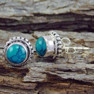 Antique Jewelry Natural Gemstone Turquoise 925 .